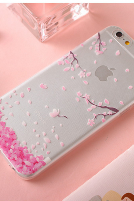 Iphone7 new cherry blossom mobile phone case transparent soft shell